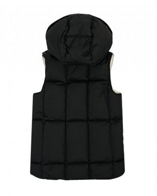 Black down-filled hooded gilet