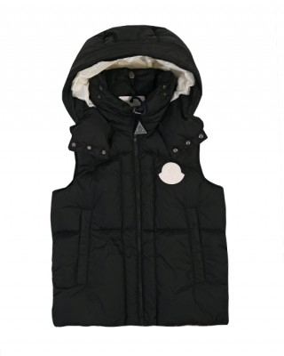 Black down-filled hooded gilet