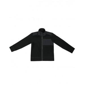 Black fleece zip-up cardigan
