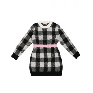 Black and white check dress with pink belt