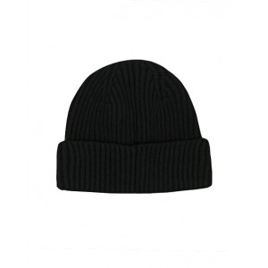 MONCLER Black beanie with white logo
