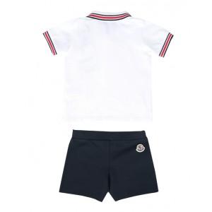 White and navy blue shorts set