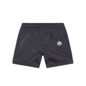 Navy blue swim shorts with branded trim