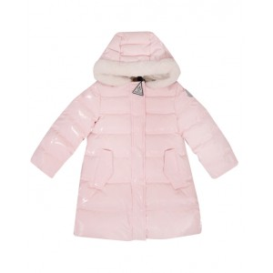 Pink faux-fur trimmed down coat