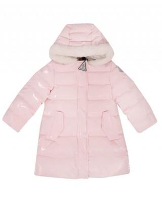 MONCLER Pink faux-fur trimmed down coat