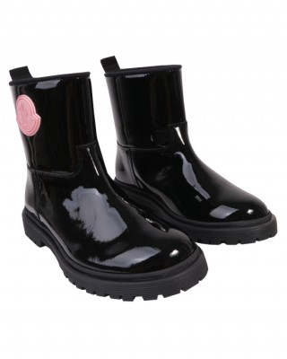 Black patent boots with pink logo