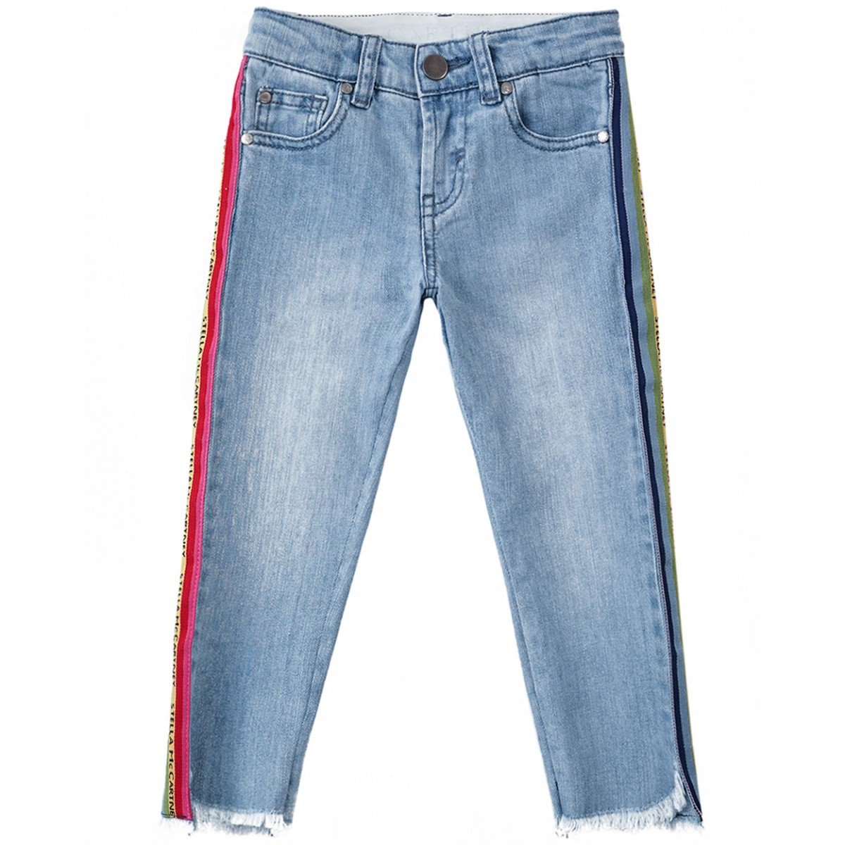 STELLA MCCARTNEY KIDS Denim jeans with rainbow band