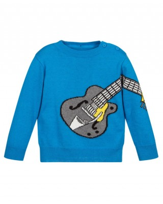 Blue sweater with guitar