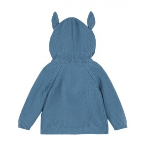Blue knit cardigan with horse ears
