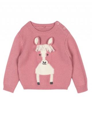 Pink horse-intarsia jumper