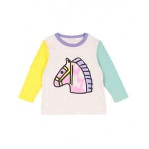 Colorblock horse print blouse