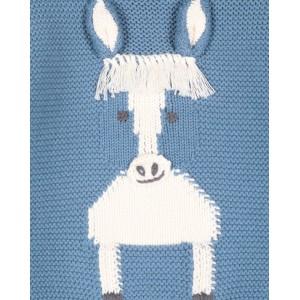 Blue horse-intarsia jumper