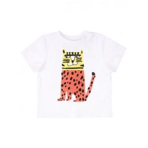 Leopard print white T-shirt