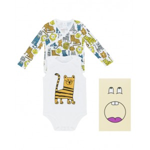 Pack of wild cats print bodysuits