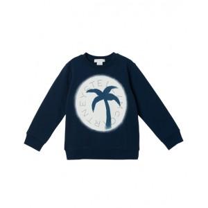 Navy blue sweatshirt with palm print