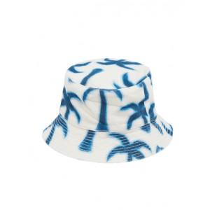 Denim hat with blue palms print