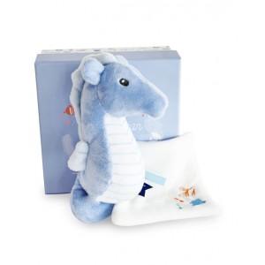 DOU DOU Blue seahorse plush with soft toy